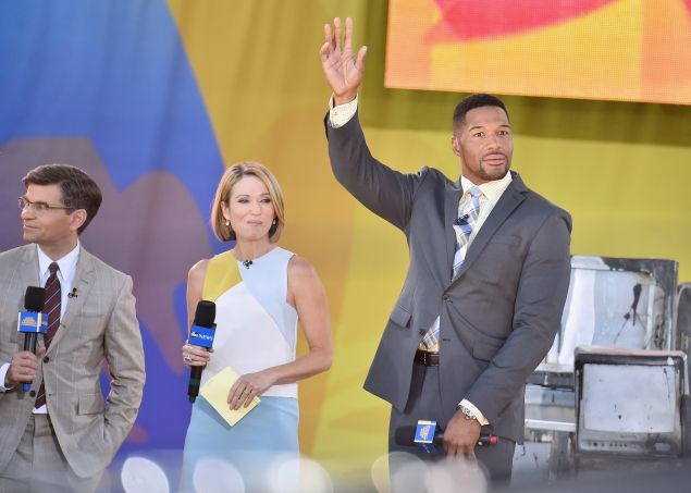 """""""Good Morning America"""" Co-hosts George Stephanopoulos, Amy Robach, and Former Michael Strahan interact with fans on ABC's """"Good Morning America"""" at Rumsey Playfield, Central Park on June 10, 2016 in New York City."""