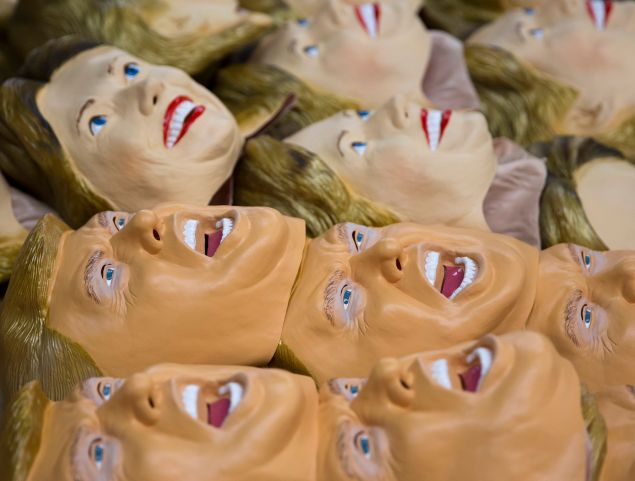 SAITAMA, JAPAN - JUNE 14: Rubber masks in the likeness of Republican presidential candidate Donald Trump, and Democratic presidential candidate Hillary Clinton are stacked at the Ozawa Studios Inc. factory on June 14, 2016 in Saitama, Japan