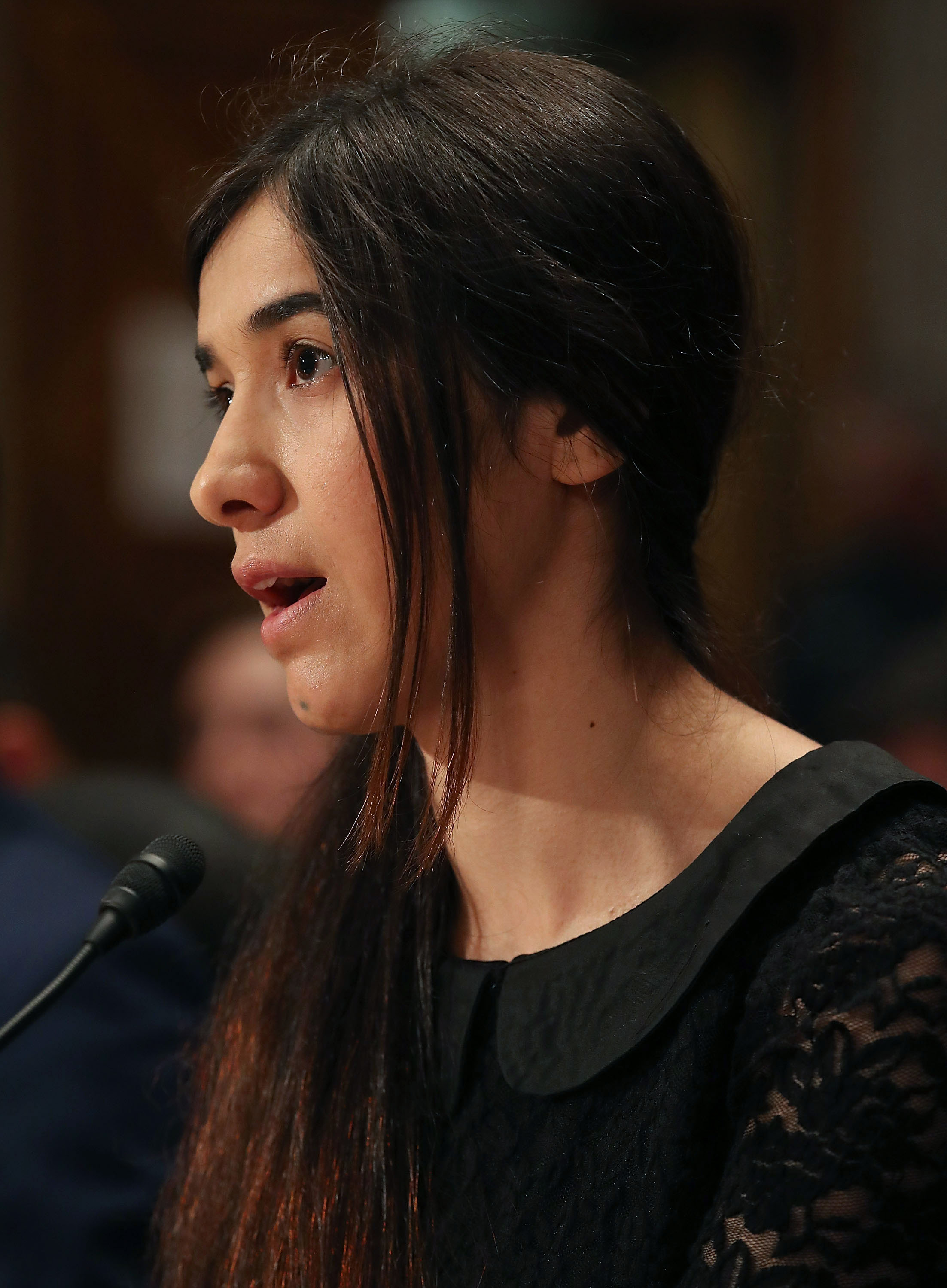 Nadia Murad testifies during Senate Homeland Security and Governmental Affairs Committee hearing in Washington, DC.