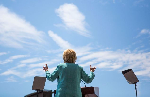ATLANTIC CITY, NJ - JULY 6: Presumptive Democratic presidential nominee Hillary Clinton speaks at a rally on the boardwalk on July 6, 2016 in Atlantic City, New Jersey. Clinton addressed presumptive Republican presidential nominee Donald Trump's business record. (Photo by Jessica Kourkounis/Getty Images)