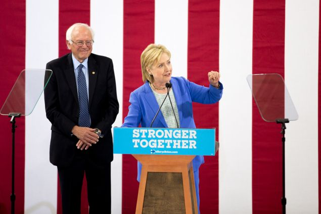 Presumptive Democratic presidential candidate Hillary Clinton speaks at a rally in Portsmouth, New Hampshire where she received an endorsement from senator Bernie Sanders.