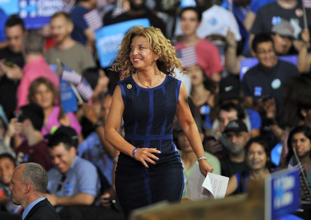 Democratic National Committee Chair, Congresswoman Debbie Wasserman Schultz of Florida arrives to address a campaign rally for Democratic presidential candidate Hillary Clinton and running mate Tim Kaine at Florida International University in Miami, Florida, July 23, 2016. Embattled Democratic Party chair Debbie Wasserman Schultz said July 24, 2016 she is resigning, following a leak of emails suggesting an insider attempt to hobble the campaign of Hillary Clinton's rival in the White House primaries Bernie Sanders.