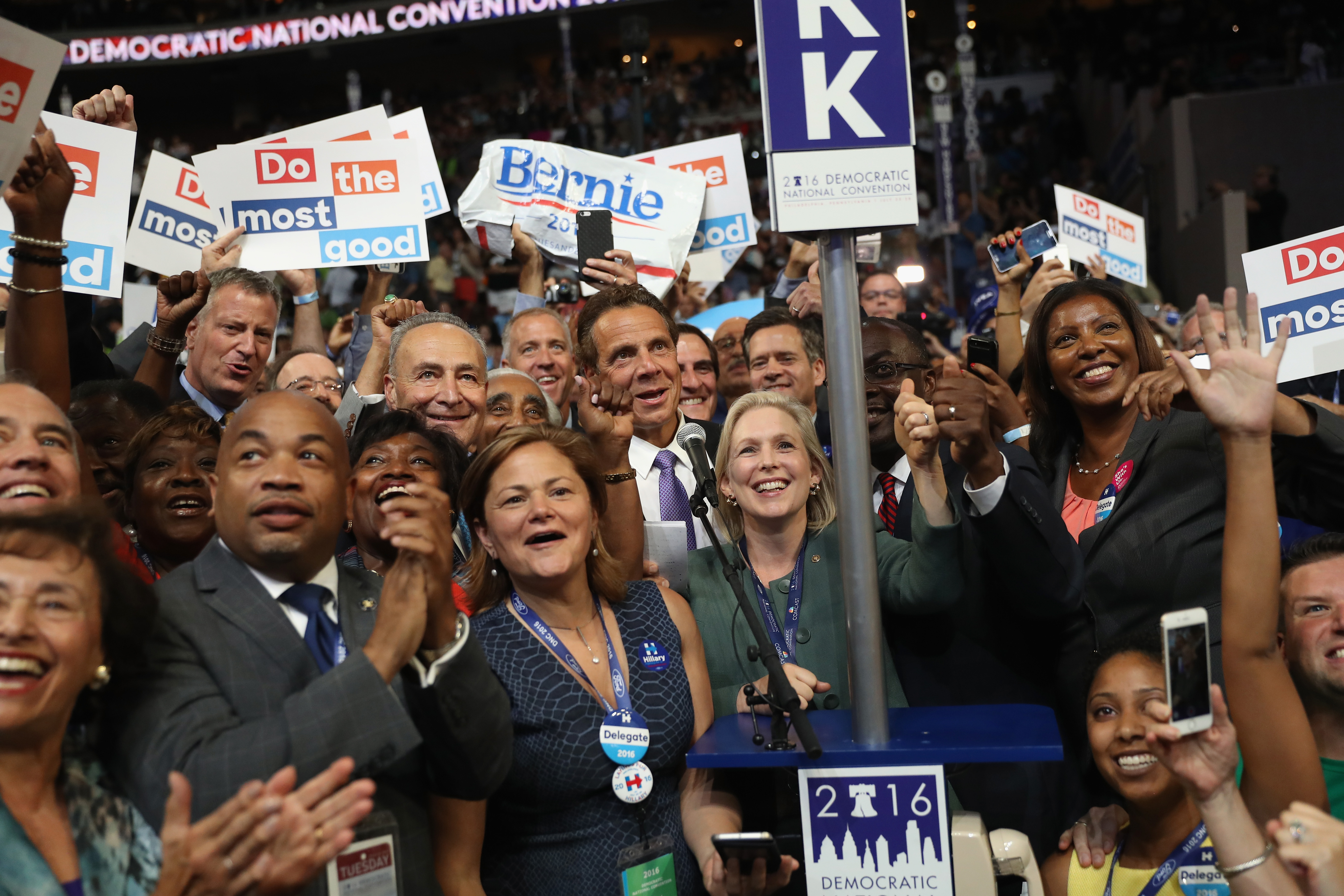 Can you spot the 6-foot-five-inches-tall mayor of New York City at the DNC?