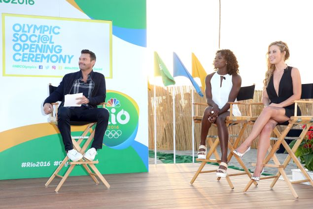 Host Ryan Seacrest and olympians Dawn Harper-Nelson and Tara Lipinski.