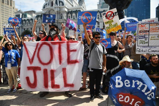 PHILADELPHIA, PA - JULY 27: Bernie Sanders supporters gather near City Hall on day three of the Democratic National Convention (DNC) on July 27, 2016 in Philadelphia, Pennsylvania