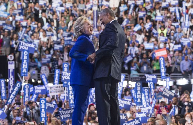 President Barack Obama is joined by US Democratic presidential candidate Hillary Clinton.