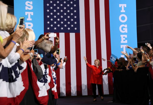PITTSBURGH, PA - Democratic presidential nominee former Secretary of State Hillary Clinton greets supporters during a campaign rally with democratic vice presidential nominee U.S. Sen Tim Kaine (D-VA) at the David L. Lawrence Convention Center on July 30, 2016