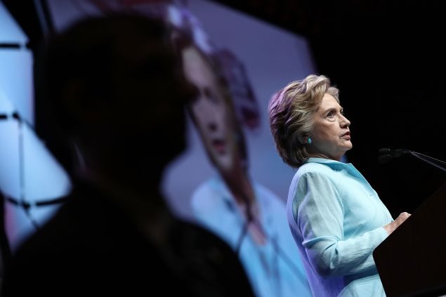 Democratic presidential nomiee Hillary Clinton addresses the National Association of Black Journalists and the National Association of Hispanic Journalists August 5, 2016 in Washington, DC. Clinton took questions following her remarks.