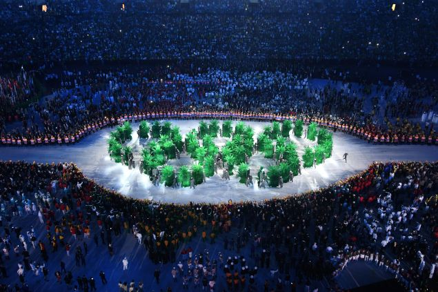 Olympic rings are displayed by the Brazilian delegation during the opening ceremony of the Rio 2016 Olympic Games at the Maracana stadium in Rio de Janeiro on August 5, 2016. / AFP / Antonin THUILLIER
