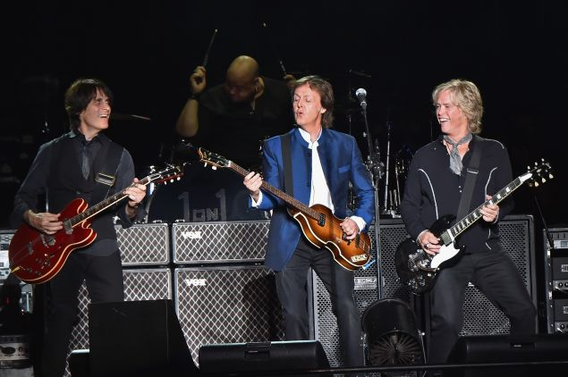 Rusty Anderson, Abe Laboriel, Jr., Paul McCartney, and Brian Ray performing at MetLife Stadium on August 7, 2016 in East Rutherford, New Jersey.