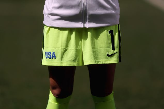 A detailed shot of shorts worn by goalkeeper Hope Solo #1 of United States are seen before the game against Sweden during the Women's Football Quarterfinal match at Mane Garrincha Stadium on Day 7 of the Rio 2016 Olympic Games on August 12, 2016 in Brasilia, Brazil.