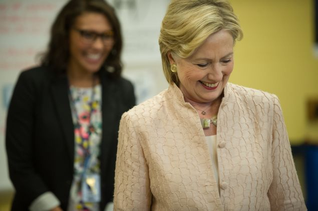 Democratic presidential candidate Hillary Clinton tours John Marshall High School August 17, 2016 in Cleveland, Ohio. Clinton was scheduled to speak at a rally at the school.