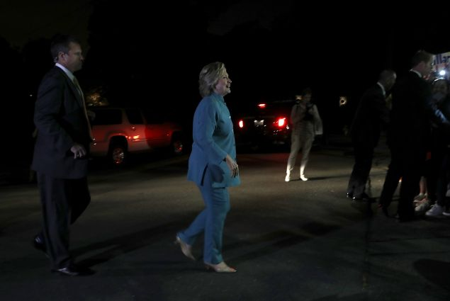 Democratic presidential nominee former Secretary of State Hillary Clinton preapres to greet supporters after attending a fundraiser on August 23, 2016 in Piedmont, California. Hillary Clinton is attending fundraisers in California.