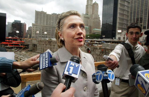 NEW YORK - JUNE 7: Sen. Hillary Rodham Clinton (D-NY speaks to reporters before a press conference at Ground Zero of the World Trade Center terrorist attacks June 7, 2002 in New York City. Housing and Urban Development (HUD) Secretary Mel Martinez presented New York WITH a $306 million installment of a $2 billion grant for assistance in recovering from the attacks.