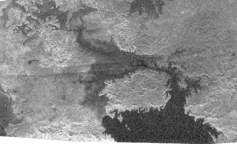 Cassini radar image of the northern region of Kracken Mare on Titan showing the large island of Mayda Insula.