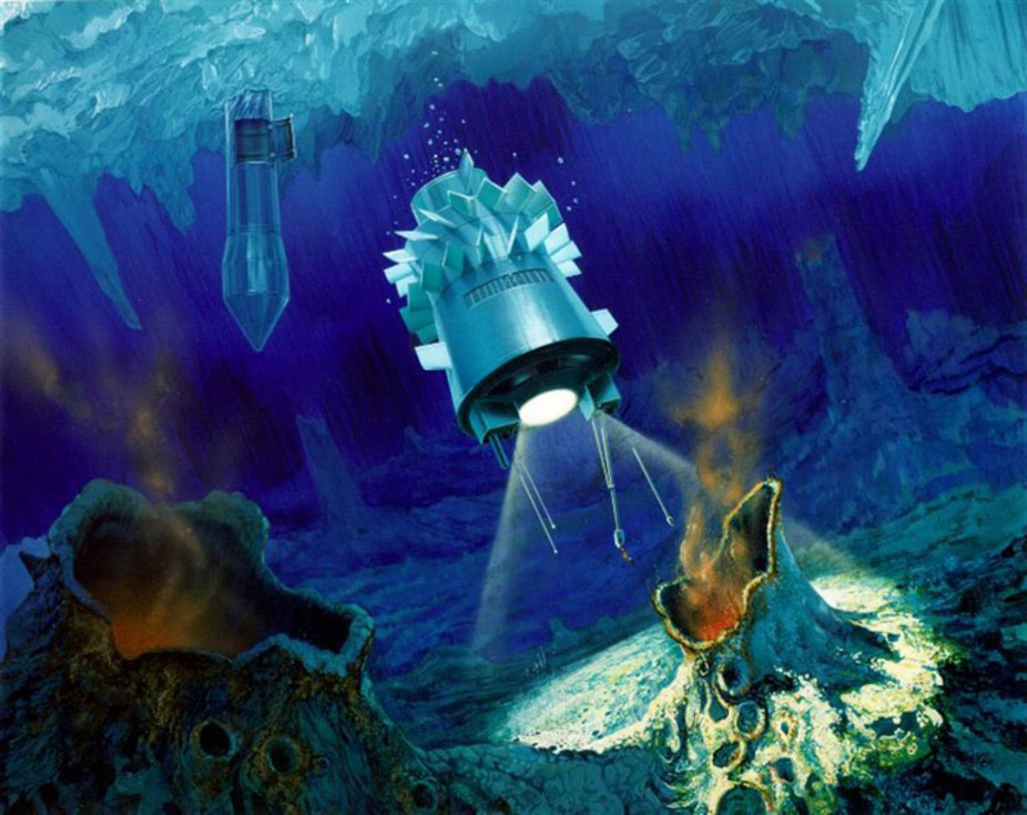Artist's impression of a cryobot and submarine in the ice on Jupiter's Europa.