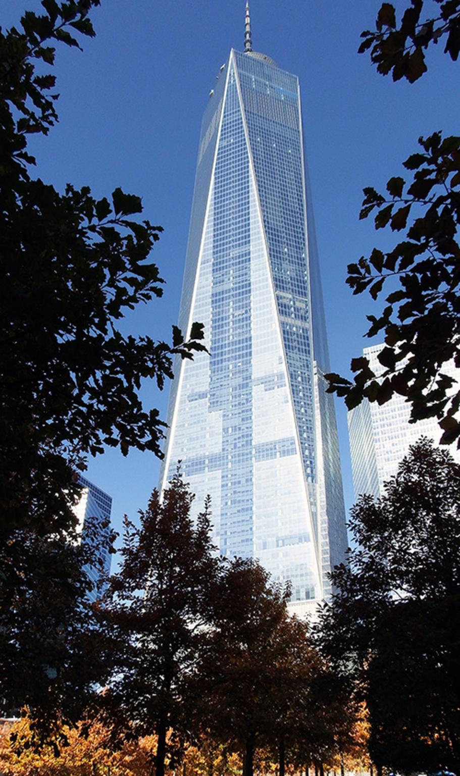 One World Trade (aka Freedom Tower) rises a symbolic 1,776 feet into the sky.