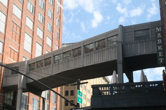 The foot bridge over 10th Avenue that's been reported to connect the NYPD's intelligence unit with the FBI's Joint Terrorism Task Force, in the 2014 book Enemies Within.