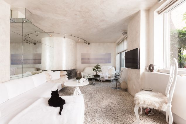 The whitewashed living room
