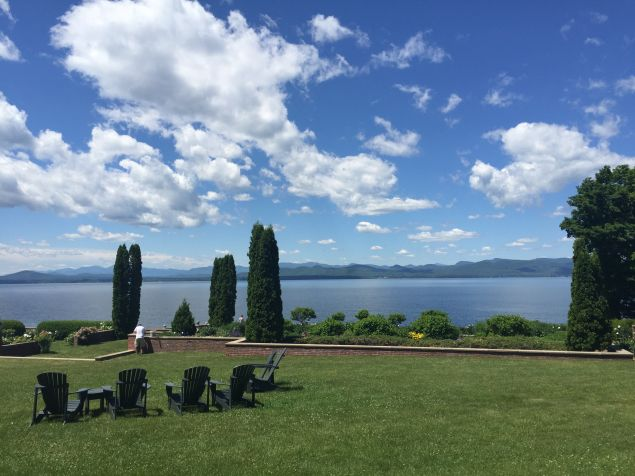 Lake Champlain, as seen from the backyard of The Inn at Shelburne Farms.