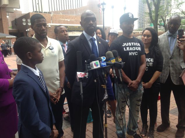 Bronx Assemblyman Michael Blake speaks about his encounter with the police at One Police Plaza.