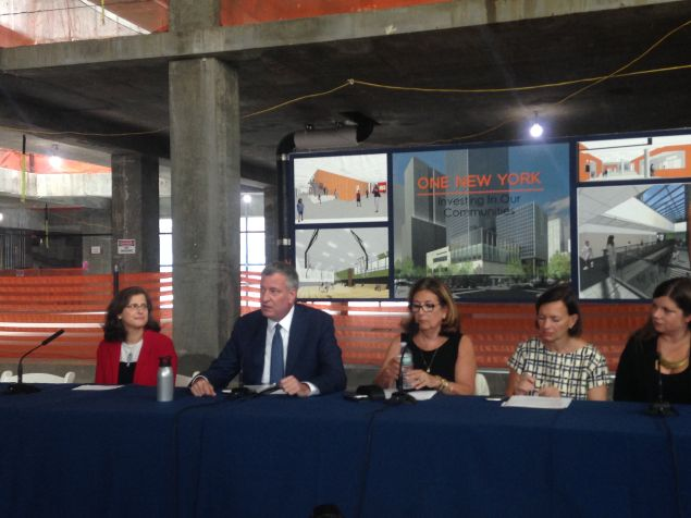 Mayor de Blasio speaking at a press conference on a new school coming to the Upper West Side.