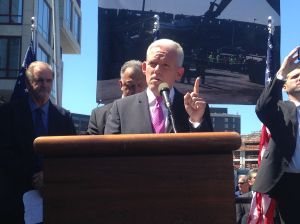 Councilman Jimmy Van Bramer tells workers that the developer lied to him.