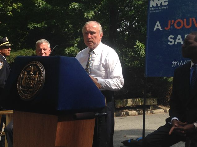 Police Commissioner Bill Bratton speaks at a press conference announcing security measures at the J'Ouvert festival.