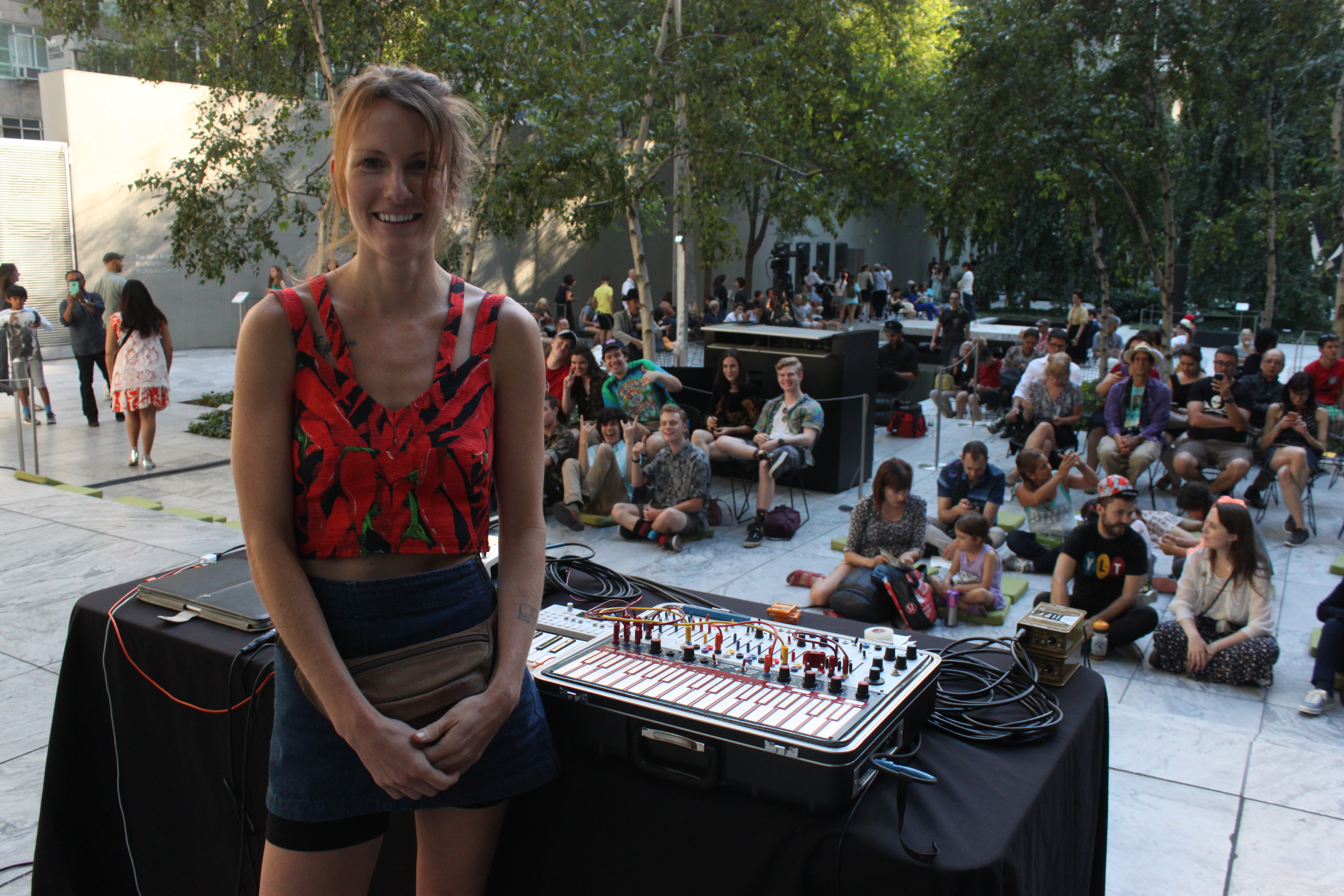 Kaitlyn Aurelia Smith was perfectly happy just hangin in the courtyard ahead of her fantastic set at MoMa Summer Thursdays.
