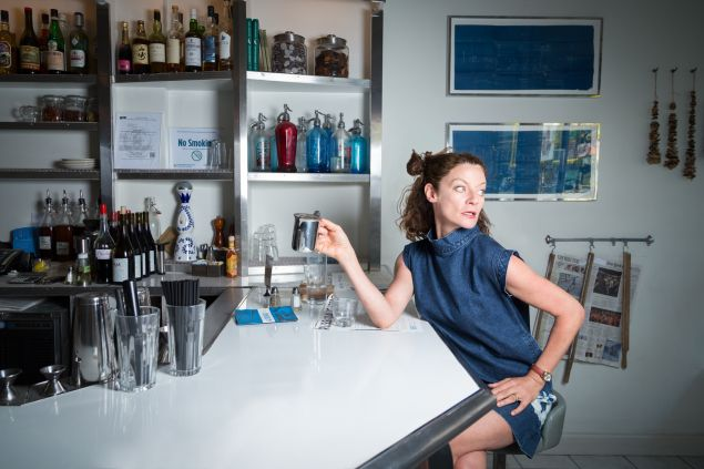 Doctor Who actress Michelle Gomez at Russ & Daughters on the Lower East Side.