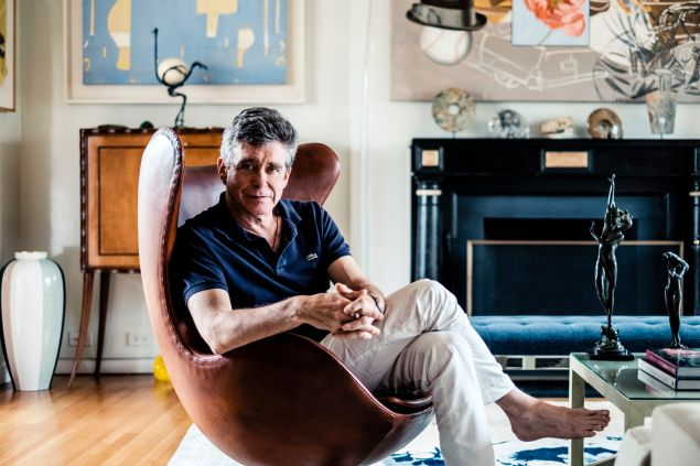 Jay McInerney in egg chair.