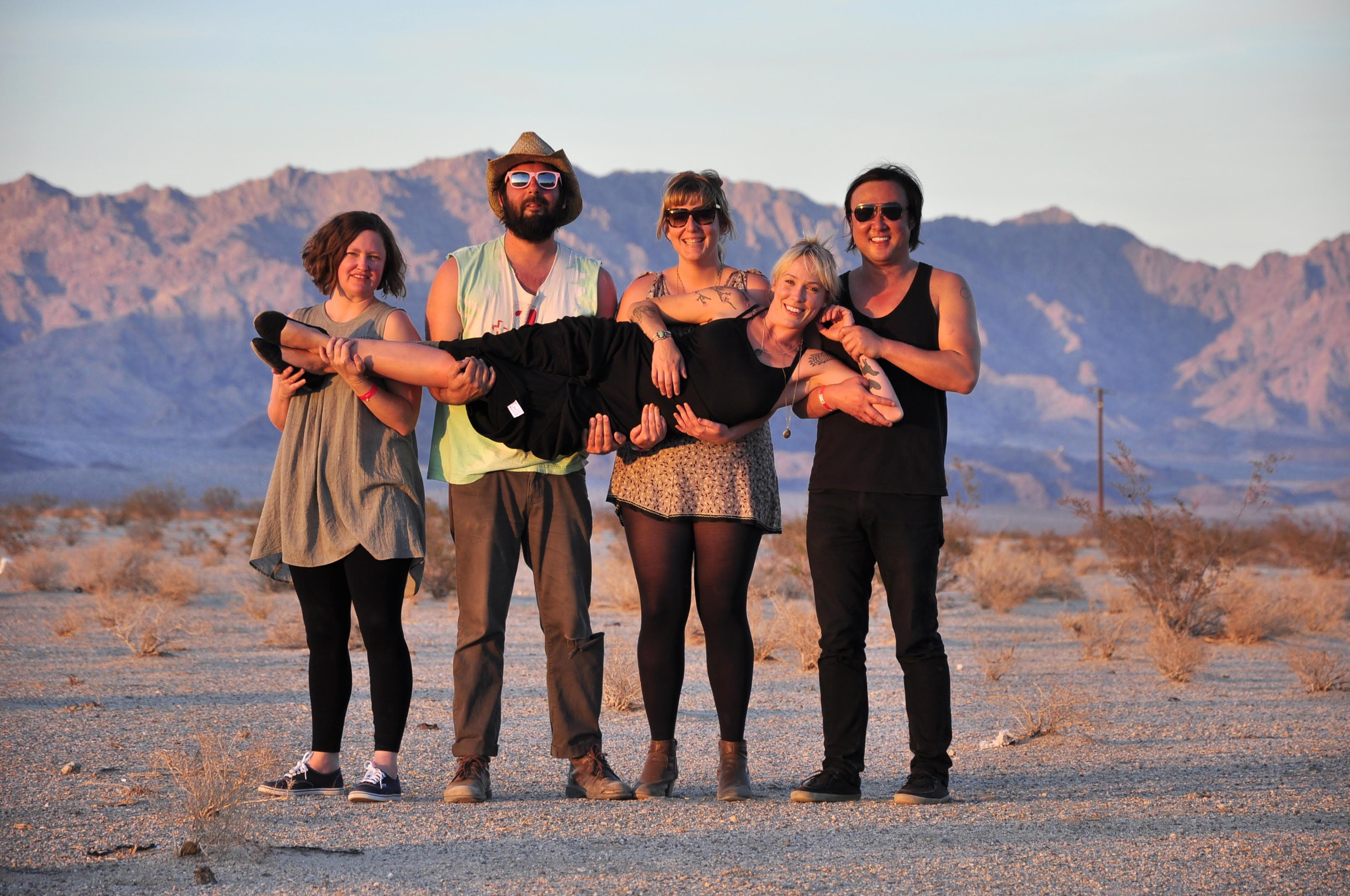 Tim Cohen in the desert with friends