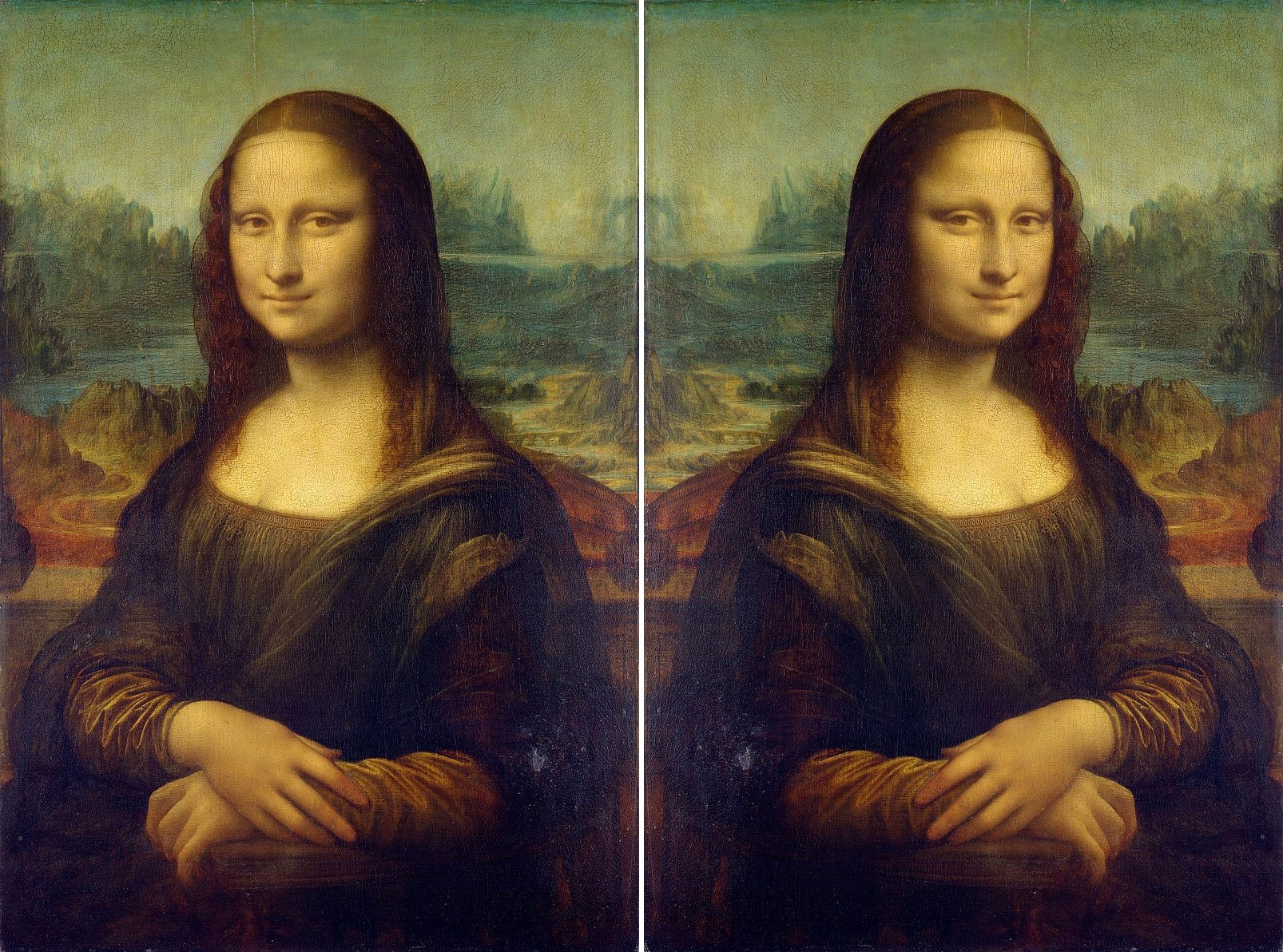 The original Mona Lisa, and flipped side by side.