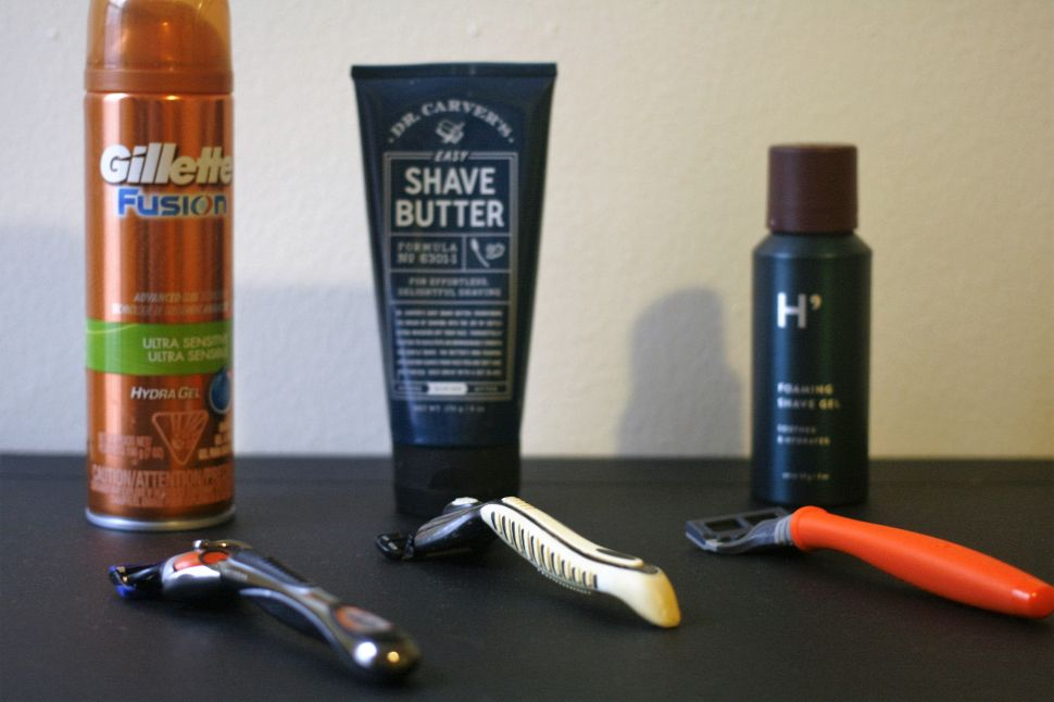 From left to right, Gillette, Dollar Shave Club and Harry's offerings.