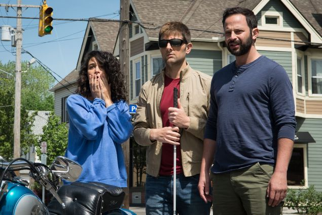 Jenny Slate as Rose, Adam Scott as Robbie, and Nick Kroll as Bill in My Blind Brother.