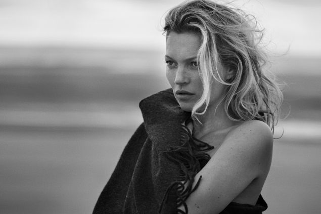 Moss on the beach in her cashmere