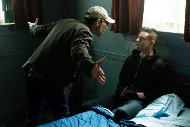 Christian Slater as Mr. Robot and Rami Malek as Elliot Alderson.