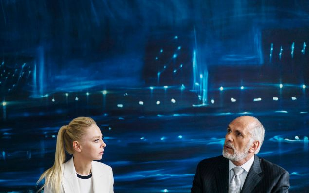 Portia Doubleday as Angela Moss and Michael Cristofer as Phillip Price.