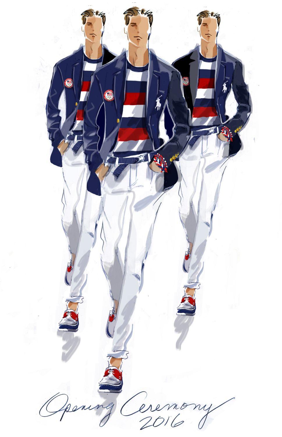 A sketch of the men's uniform
