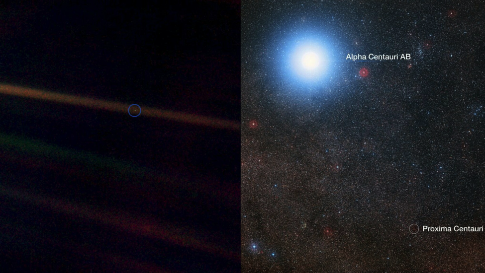 Left: The Pale Blue Dot photo taken by Voyager 1 Right: Alpha Centauri and Proxima Centauri