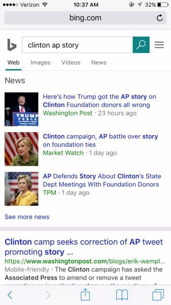 'Clinton AP' Bing search.
