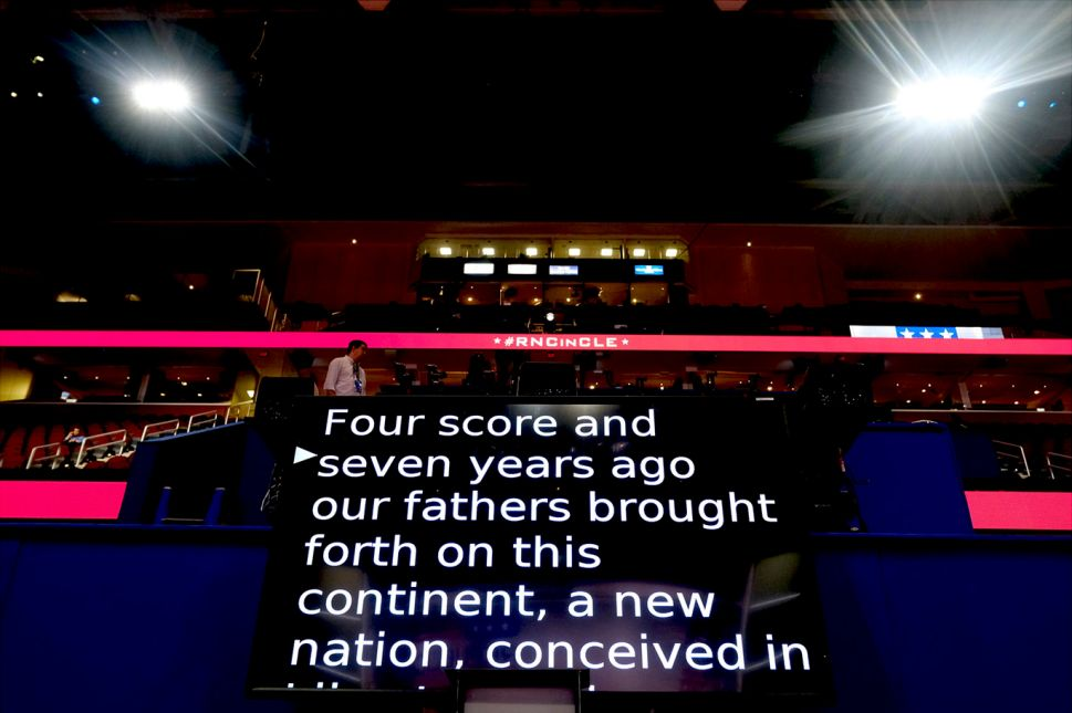 Teleprompter at Republican National Convention that nominated Donald Trump. PHOTO CREDIT: Ron Haviv
