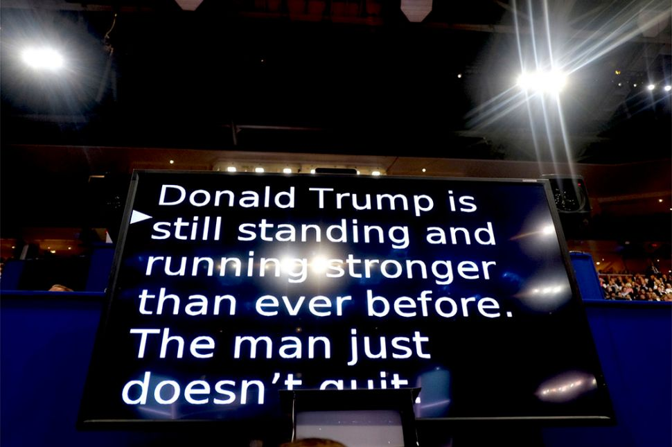 Teleprompter at Republican National Convention. (T) Teleprompter a Democratic National Convention. (B). PHOTO CREDIT: Ron Haviv