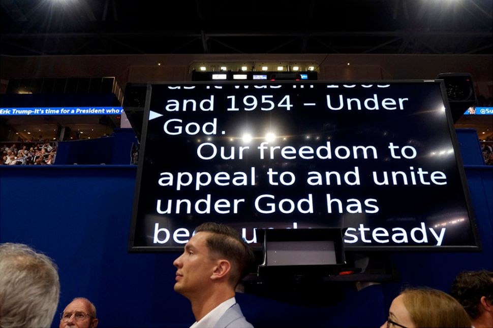 Teleprompter at Republican National Convention. (T) Teleprompter a Democratic National Convention. (B) PHOTO CREDIT: Ron Haviv
