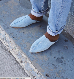 Some blue vibes from Brother Vellies denim babouche shoe.