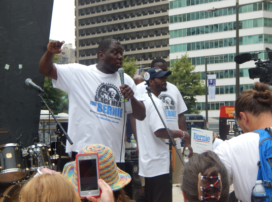 The organization Black Men for Bernie held a protest by Love Park on the day of Clinton's acceptance speech