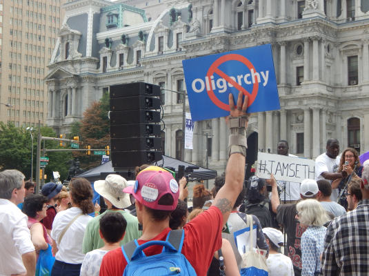 Sanders supporters gathered around City Hall throughout the week