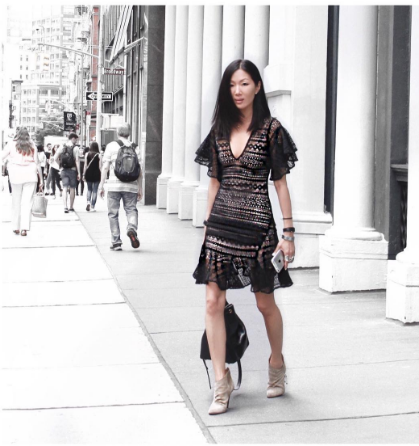 Marissa Web sported her own designs while strutting through the streets of NY.