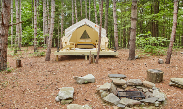 This campsite sits among tall pines beside a five-acre beaver pond.