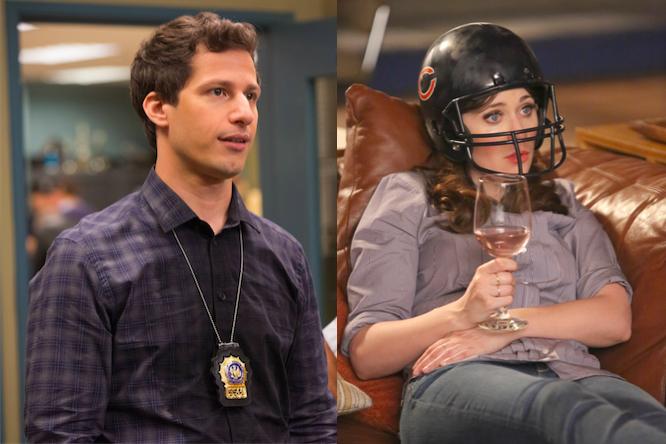 Andy Samberg in Brooklyn Nine-Nine, Zooey Deschanel in New Girl.